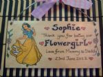 SNOW WHITE BRIDESMAID FLOWERGIRL MAID OF HONOUR PRINCESS WEDDING FAVOUR  PERSONALISED Handmade WOODEN SIGN PLAQUE
